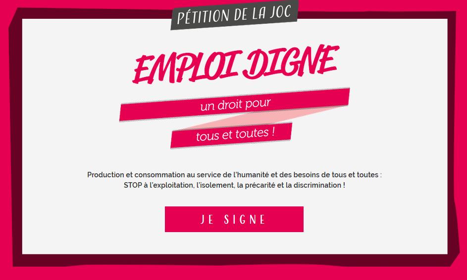 «L'Emploi Digne : un droit pour tou.te.s» la pétition de la JOC