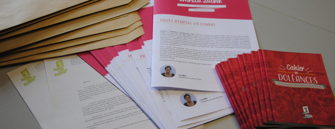 Chômage des jeunes : la JOC envoie son Cahier de Doléances aux parlementaires