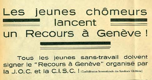 « Le recours à Genève », la pétition de 1935 pour dénoncer le chômage des jeunes