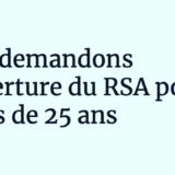 Communiqué – Nous demandons l'ouverture du RSA pour les moins de 25 ans